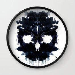 Rorschach skull dark Wall Clock