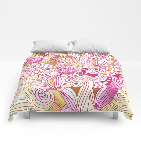 Flower fire Comforters