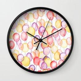 colorful balloon watercolor Wall Clock