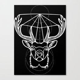 Geometric Stag Deer Head in White Canvas Print
