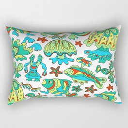A pattern of fancy bizarre sea creatures. Style Doodle. Vector illustration. Rectangular Pillow