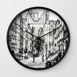 GOTHIC STREET OF POLISH CITY GDANSK IN GREY TONES Wall Clock