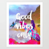 good vibes only Art Prints featuring Good vibes only surfers by Roarr