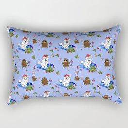 Santa Paws Holiday Samoyed Pattern Rectangular Pillow