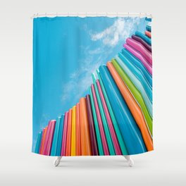 Colorful Rainbow Pipes Against Blue Sky Shower Curtain