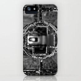 Prison Medical Ward Gate Cross - Black & White iPhone Case