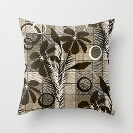 Flowers on a checkered background in a rustic style. Throw Pillow