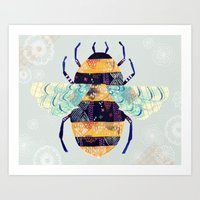 bee Art Prints featuring bee by Yellow Button Studio