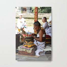 Bali Water Temple Priest Metal Print