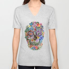tropical floral skull 4 Unisex V-Neck