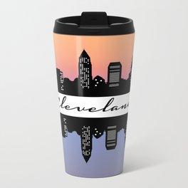 Cleveland Skyline color Metal Travel Mug