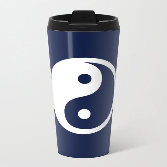 Indigo Navy Blue Yin Yang Metal Travel Mug