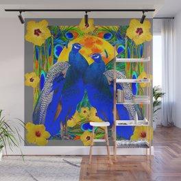 YELLOW HIBISCUS & BLUE PEACOCKS GREY ART Wall Mural