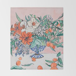 California Summer Bouquet - Oranges and Lily Blossoms in Blue and White Urn Throw Blanket