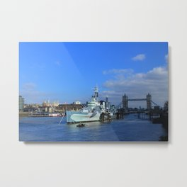 HMS Belfast, Tower Bridge and the Tower of London Metal Print
