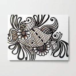 floralblack Metal Print