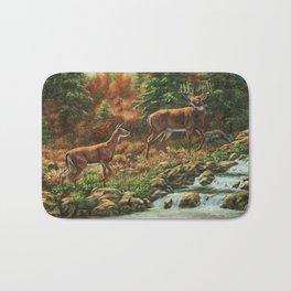 Whitetil Deer Doe & Buck by Waterfall Bath Mat