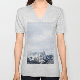 Looking out over the Rockies, in Banff Unisex V-Neck