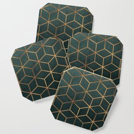 Dark Teal and Gold - Geometric Textured Gradient Cube Design Coaster