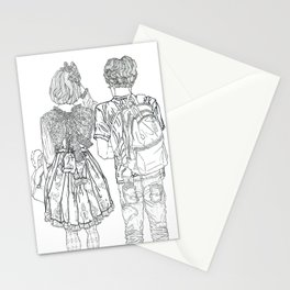 Geometric Japanese Black and White Linework Love couple Stationery Cards