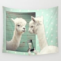 lama Wall Tapestries featuring SELFIE by Monika Strigel