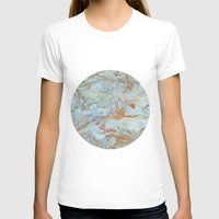 jewish T-shirts featuring Marble in shades of blue and gold by Brown Eyed Lady