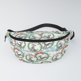 POODLES celebrate CHRISTMAS with a blue ribbon Fanny Pack