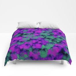 Purple Green Rose Buds Comforters