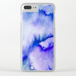 Watercolor texture - electric blue Clear iPhone Case
