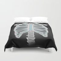 sam winchester Duvet Covers featuring [ Supernatural ] Sam Dean Winchester Castiel Ribs  by Vyles