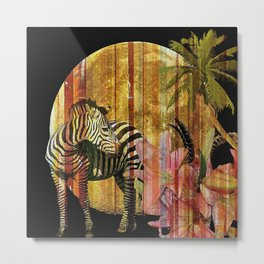 Zebras Lilies and a Harvest Moon Metal Print