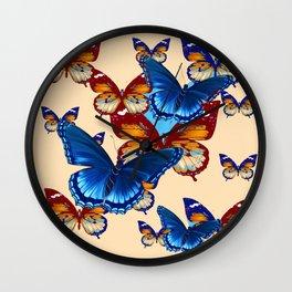 #2 MODERN ART DECORATIVE BLUE-BROWN  BUTTERFLIES Wall Clock
