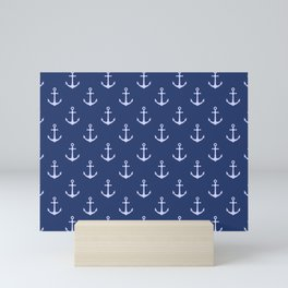 Nautical Blue Anchor Pattern Mini Art Print