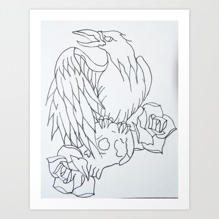 Crow Tattoo Outline Art Print By Stephehstark Society6