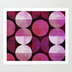 fashionable red pink grunge circle pattern Art Print