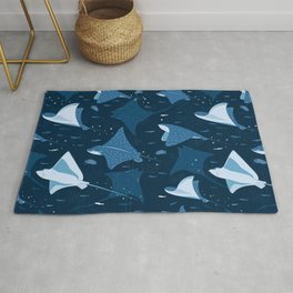 Blue stingrays pattern Rug