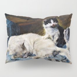 Cat Mother With Two Kittens - Julius Anton Adam Pillow Sham