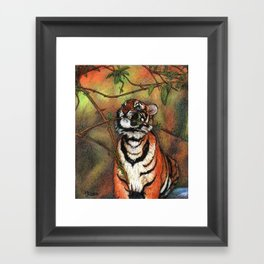 Baby tiger is playing Framed Art Print