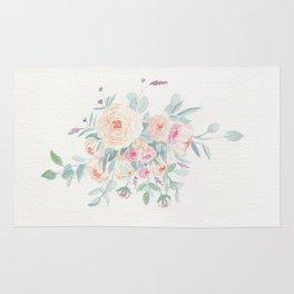 Loose Pastel Flowers Watercolor Rug