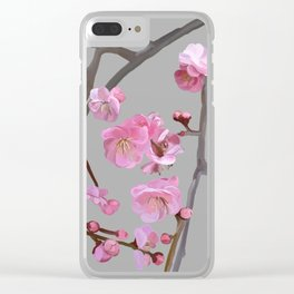 painted plum blossom light grey Clear iPhone Case
