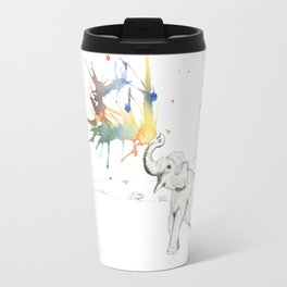 Elephant Spouting Watercolor Travel Mug
