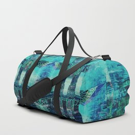 Totem Cabin Abstract - Teal Duffle Bag