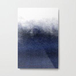 Ocean Mist II - Ombre Indigo Metallic Metal Print
