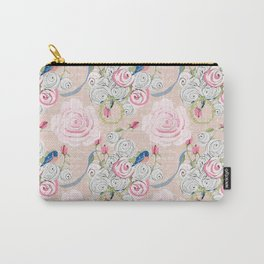 Watercolor Roses and Blush French Script Carry-All Pouch
