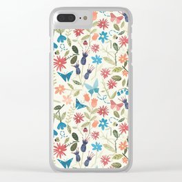 Origami insects and paper cut flowers Clear iPhone Case