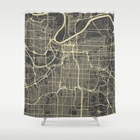 kansas city Shower Curtains featuring Kansas City map by Map Map Maps