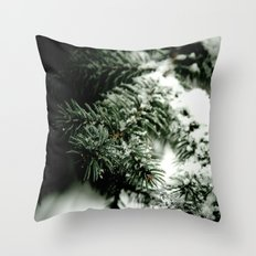 Evergreen and white Throw Pillow