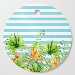 Tropical Chic Teal Blue Stripes Cutting Board