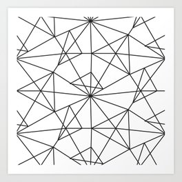 Contemporary black white abstract geometrical Art Print