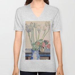 """Charles Rennie Mackintosh """"White tulips"""" Unisex V-Neck"""